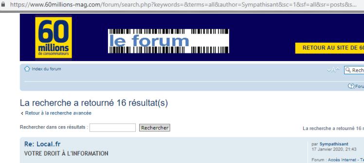 Capture d écran pour une recherche par nom d utilisateur