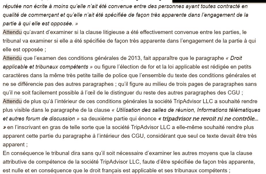 Capture d'écran de la décision du Tribunal de Commerce de Paris, 27 avril 2020, Viaticum vs Tripadvisor