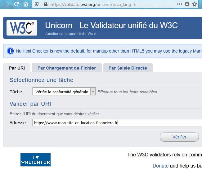 Page d'accueil du Validateur Unifié de code