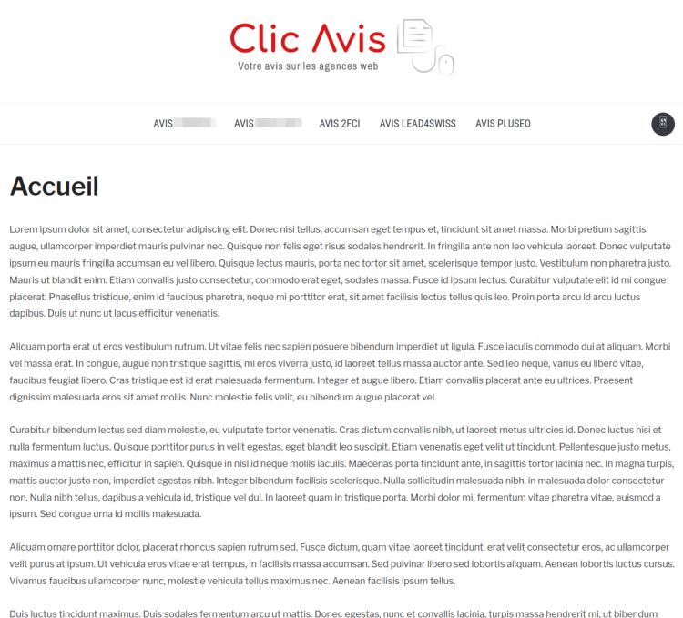 Capture d'écran du site www.Clic-Avis.com au 1er mars 2021, il parle nommément de 2.F.C.I SARL, Pluseo SAS et la société suisse des gérants de la marque Novavocats et Novagenda